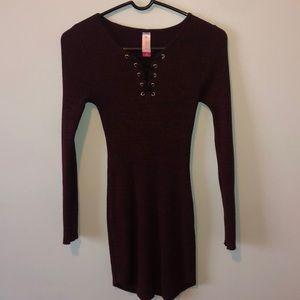 Dark maroon fitted long sleeve dress